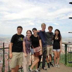 Projects Abroad volunteers taking part in a city tour during their visit to Romania.